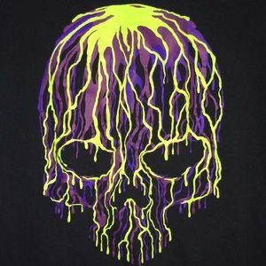 Green & purple candle drip skull black t shirt xL